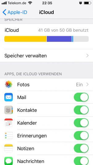 iPhone Menü Datenübersicht